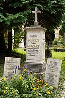Gravestone of Leopold and Constance Mozart in St. Sebastian cemetery, Salzburg, Austria, Europe