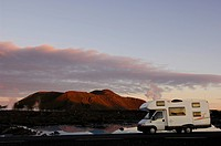 Campervan at geothermal spring, Blue Lagoon, Iceland, Europe