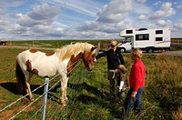 Woman and two children with an Icelandic horse, camper van in te back, in Laugarvatn, Iceland, Europe