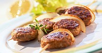 Skewered meat patties frozen food