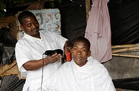 Tchungamoyo market. small barber shop, Mozambique, Beira