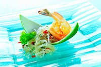Glass noodle salad with pomelo and shrimps Thailand