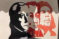 Graffiti of the old and the young Bolivar and of Che Guevara, Venezuela, South America