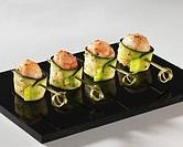 Cucumber and shrimp rolls