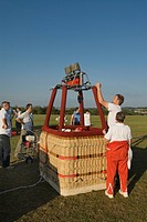 preparations before take_off. Gondola basket with gas burner, Germany, Saarland