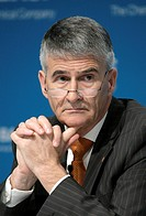 Juergen Hambrecht, Chairman of BASF SE, during the press conference on annual results on 21/02/2008 in Ludwigshafen, Rhineland_Palatinate, Germany, Eu...