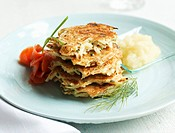 Latkes with smoked salmon and apple puree