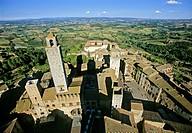 Palazzo della Podestà, Monastery of San Lorenzo in Ponte, Piazza della Cisterna, San Gimignano, Province of Siena, Tuscany, Italy, Europe