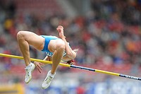 Marina AITOVA, KAZ, hits the crossbar, High Jump, at the IAAF 2008 World Athletics Final for track and field in the Mercedes_Benz Arena, Stuttgart, Ba...