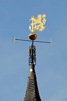 Lion weathervane with an ancor, crest, on the city hall, Duesseldorf, North Rhine-Westphalia, Germany, Europe