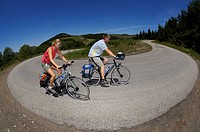 Cyclists near La Rochette, Ardèche, Rhones-Alpes, France, Europe