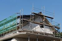 Scaffolded roof framing of a house, Solingen, North Rhine-Westphalia, Germany, Europe