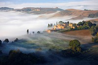 Crete senesi with fog early morning
