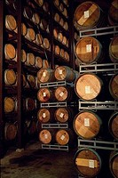 Wine casks in a winery, Napa Valley, California, USA
