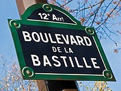 Paris street sign, Boulevard de Bastille, Paris France Europe