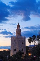Torre del Oro at sunset, Sevilla. Andalusia, Spain