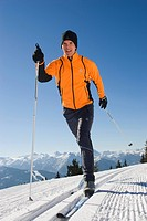 young man cross_country skiing, Austria, Alps