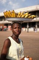 Woman selling bananas, Ghana, Volta, Ho,