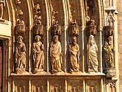 Castello d´Empuries, apostle statues at a church, Spain, Costa Brava