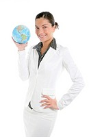 Businesswoman with white suit and global sphere map in her hand