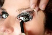 Black makeup eye shadows fashion model closeup