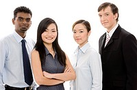 A multi_cultural and multi_ethnic business team of men and women