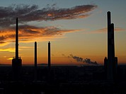 view from gasometer to industrial scenery in sunset, Austria, Vienna