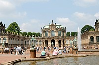 numerous tourists in front of the Wallpavillon of the Zwinger Palace, Germany, Saxony, Dresden