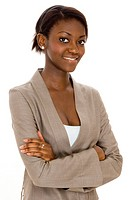 A young black business woman with her arms folded