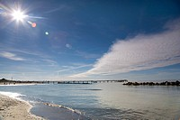 footbridge at the Baltic Sea with fine weather, Germany, Mecklenburg_Western Pomerania, Baltic Sea, Darss