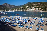 Spain, Mallorca, Balearic Island, Port de Soller, Platja Den Repic  The village of Puerto de Soller is the only resort along the west coast of Mallorc...