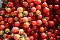 Abstract texture pattern of red cherry tomatoes in marketplace