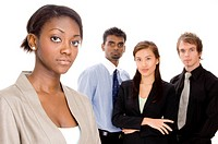 a diverse young business team _ focus on woman in front