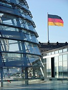 Reichstag building with the German flagg, Germany, Berlin