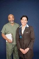 Doctors with stethoscope and notepad, portrait