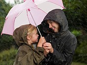 Girls huddled under an umbrella