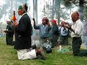 Maya priest in a ceremony in the province of Quiché, Guatemala, Quiché