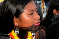 Embera Indian woman with face painting made of jagua ink in Pavarando on the Sambu River, Panama, Darien, Pavarando