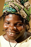 Portrait of a woman wearing a headscarf, health consultation HIV/AIDS, Health Centre, Bafut, Cameroon, Africa