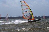 windsurfer rushing over the water, Germany, Schleswig_Holstein, Sylt