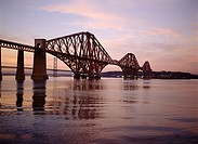 Forth Railway Bridge FORTH BRIDGE FORTH BRIDGE Victorian Cantilever steel granite bridge Firth of Forth river sunset