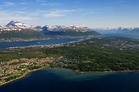 Tromso, Tromsoe, aerial shot, Norway