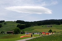 Foehn clouds over paraglider airfield, Switzerland, Appenzell, Jakobsbad