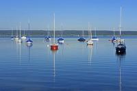 sailboats on lake Ammersee, Germany, Bavaria, Oberbayern, Upper Bavaria