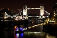 Tower Bridge, boat on the River Thames, London, England, Great Britain, Europe