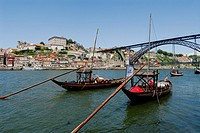 Porto  Portugal  Traditional wooden sailboats, barcos rabelos, moored on the Douro river