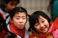 portraits of two girls, China, Chengdu