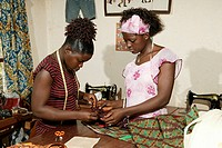 Tailor and seamstress of an HIV help group, Bafut, Cameroun, Africa
