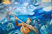 Mural painting depicting fishermen in a storm, Riomaggiore, Liguria, Cinque Terre, Italy, Europe