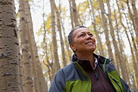 Black woman in forest
